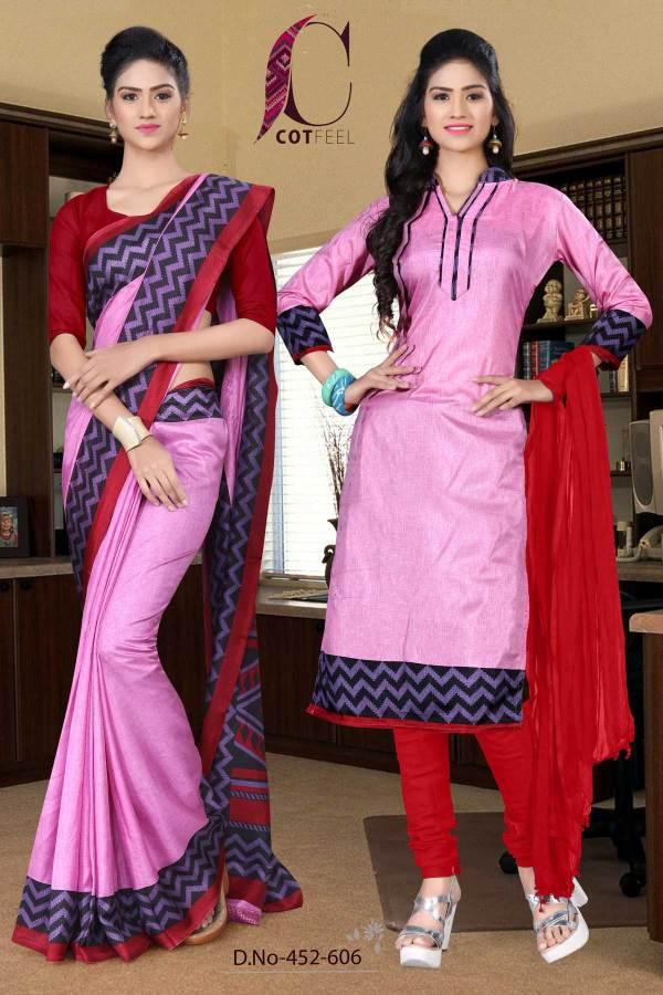 pink-and-maroon-tripura-cotton-teacher-uniform-sarees-combo-452