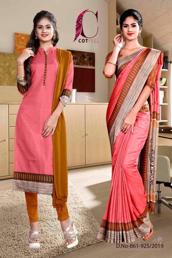 pink-and-orange-fancy-corporate-uniform-saree-salwar-combo-861-925