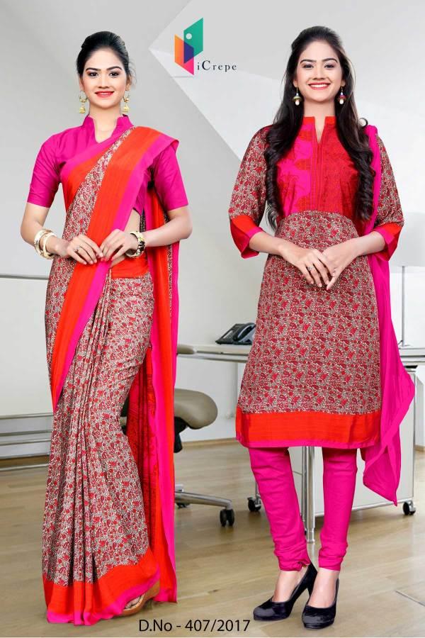pink-orange-italian-crepe-uniform-saree-salwar-combo-407