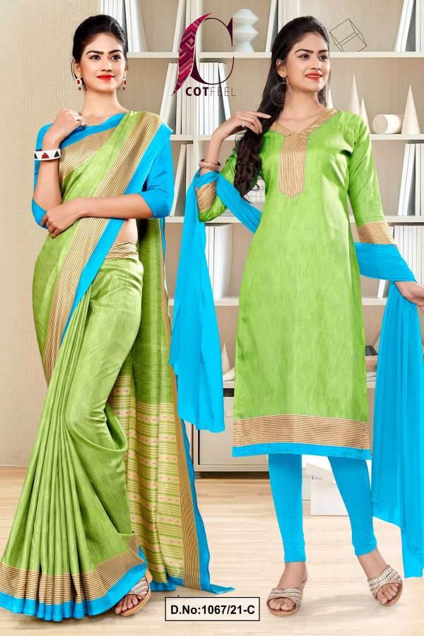 pistachio-sky-blue-plain-border-premium-polycotton-cotfeel-saree-salwar-combo-for-showroom-uniform-sarees-1067