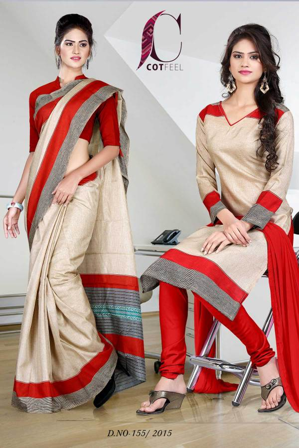 red-and-beige-uniform-saree-salwar-combo-155
