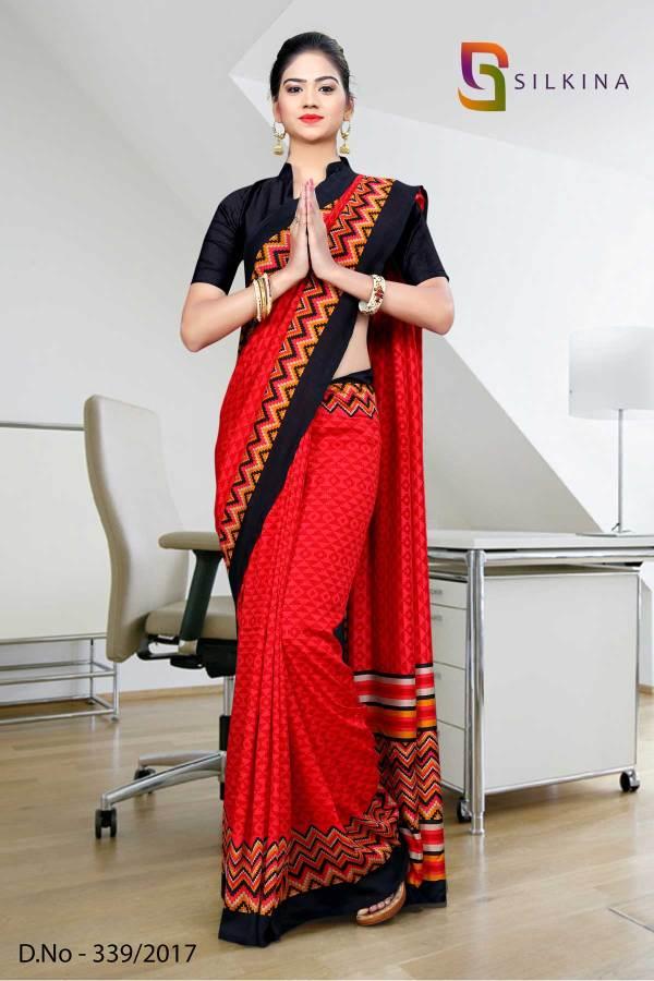 red-black-border-silk-georgette-uniform-saree-339