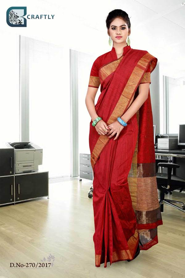 red-golden-uniform-saree-270