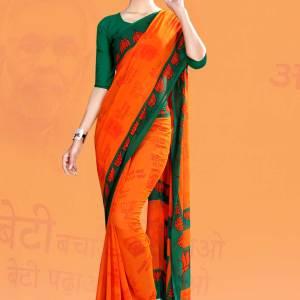BJP-Namo-Saree-saffron-and-green-bharatiya-janata-party-uniform-sarees-572