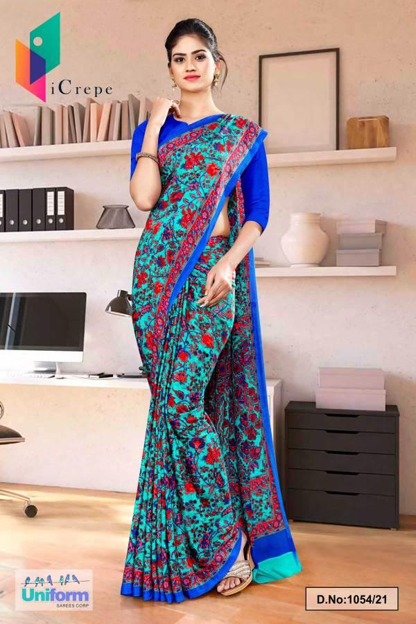 sea-green-blue-flower-print-premium-italian-silk-crepe-uniform-sarees-for-receptionist-1054-21