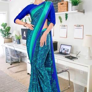 sea-green-blue-paisley-print-premium-italian-silk-crepe-uniform-sarees-for-office-wear-1100-21