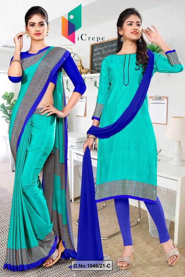 sea-green-blue-premium-italian-silk-crepe-uniforms-saree-salwar-combo-for-hospital-staff-1046-C