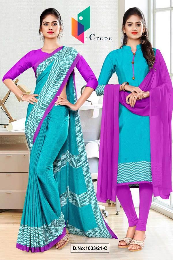 sea-green-lavender-premium-italian-silk-crepe-saree-salwar-combo-for-workers-uniform-sarees-1033-C