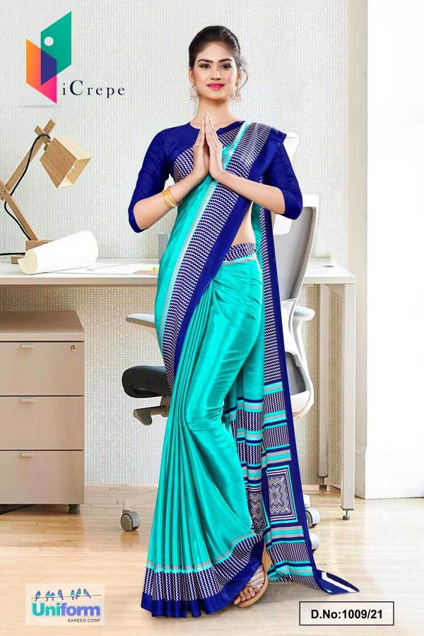 sky-blue-plain-border-premium-polycotton-raw-silk-saree-for-hotel-uniform-sarees-1039