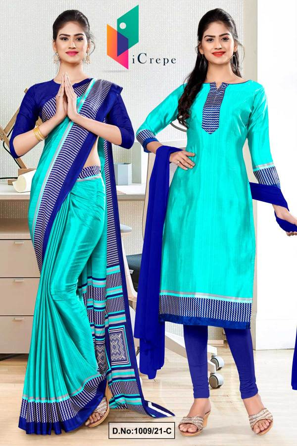 sea-green-navy-blue-premium-italian-silk-crepe-saree-salwar-combo-for-employees-uniform-sarees-1009-C