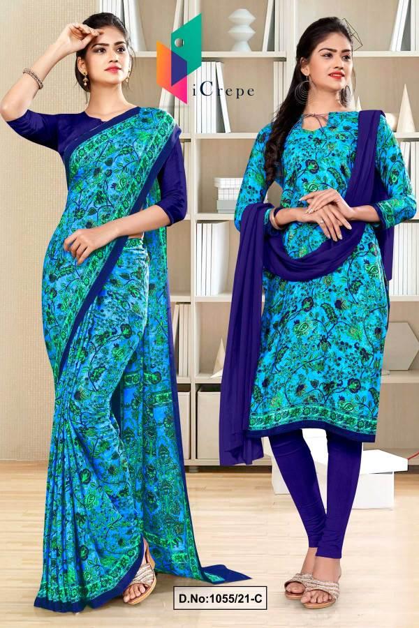 sky-blue-navy-blue-flower-print-premium-italian-silk-crepe-uniform-saree-chudidar-combo-for-industrial-employees-1055-C