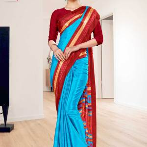 sky-blue-red-premium-italian-silk-crepe-uniform-sareefor-hospital-staff-1101-21