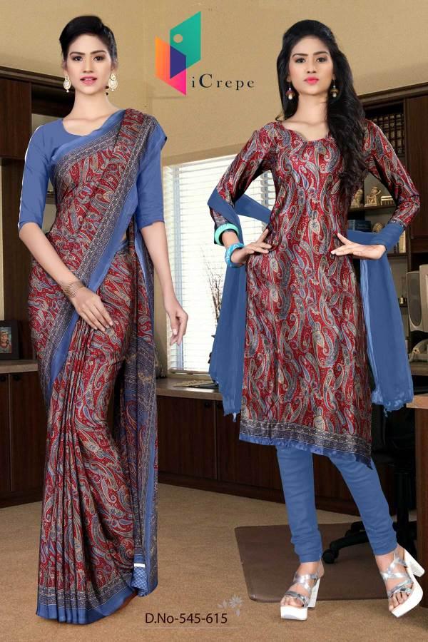 turquoise-and-blue-italian-crepe-silk-college-uniform-saree-salwar-combo-545-615