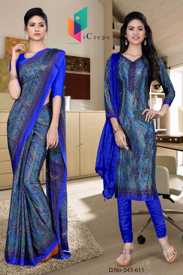 turquoise-and-blue-italian-crepe-silk-fancy-uniform-saree-salwar-combo-543-611