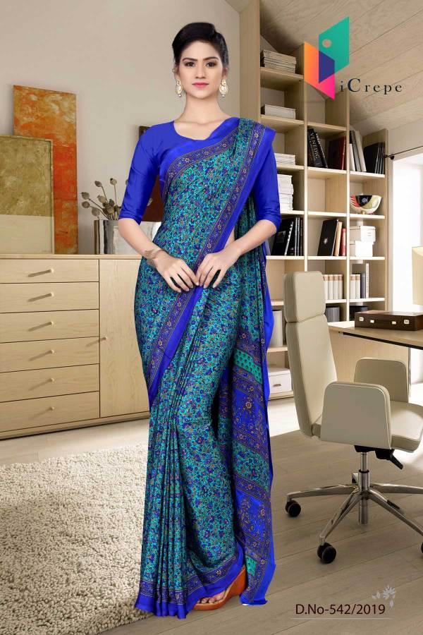 turquoise-and-blue-italian-crepe-silk-hospital-uniform-saree-542