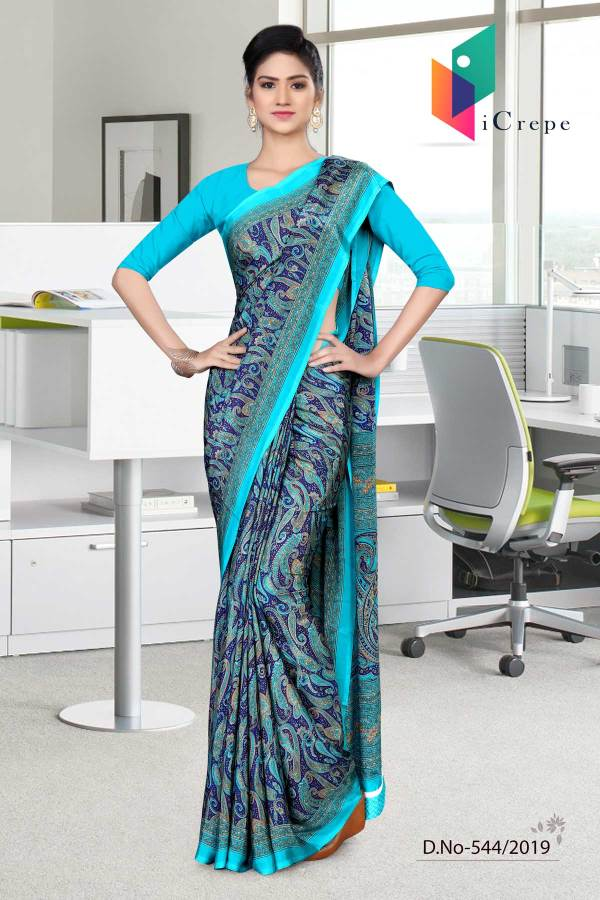 turquoise-and-blue-italian-crepe-silk-institution-uniform-saree-544