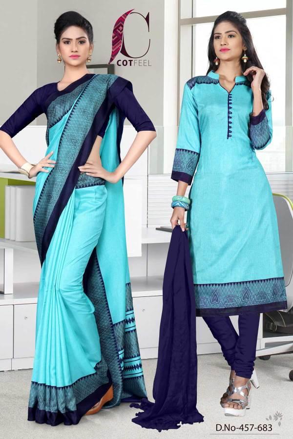turquoise-and-navy-blue-tripura-cotton-institute-uniform-sarees-combo-457-683