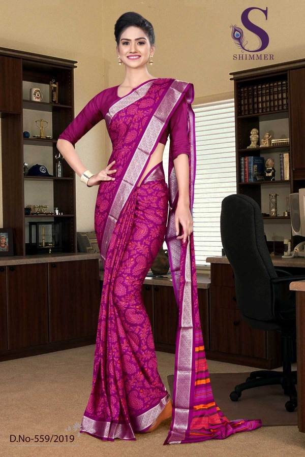 voilet-purple-silk-crepe-jaquard-border-hospital-uniform-sarees-559