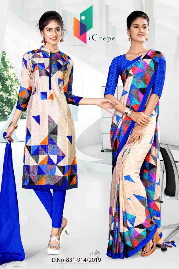 white-and-blueicrepe-silk-institute-uniform-saree-salwar-combo-831-914