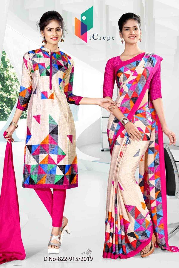 white-and-pink-icrepe-silk-institute-uniform-saree-salwar-combo-822-915