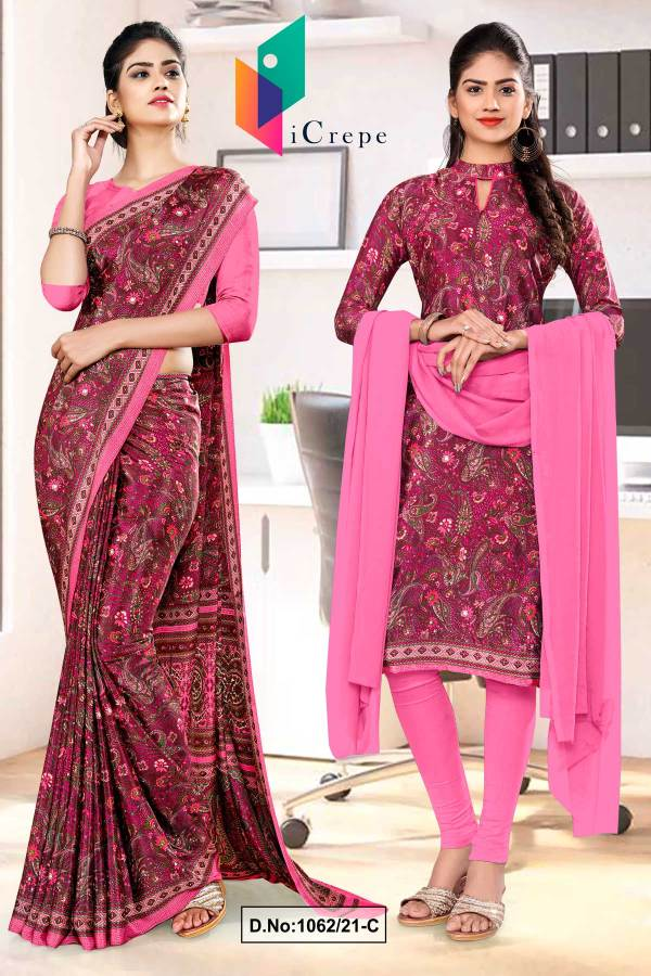 wine-pink-paisley-print-premium-italian-silk-crepe-uniform-saree-salwar-combo-for-school-teachers-1062-C