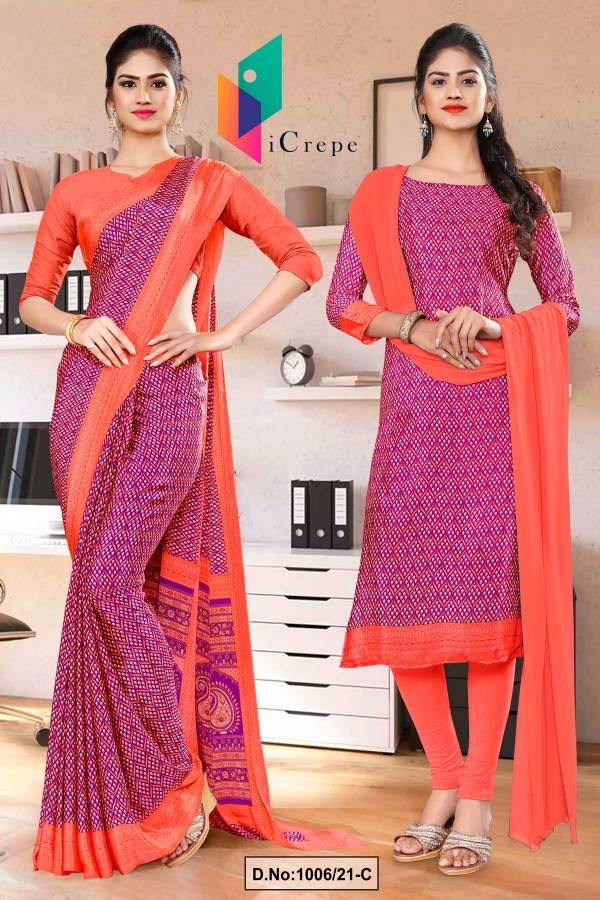 wine-pink-premium-italian-silk-crepe-saree-salwar-combo-for-hotel-uniform-sarees-1006-C