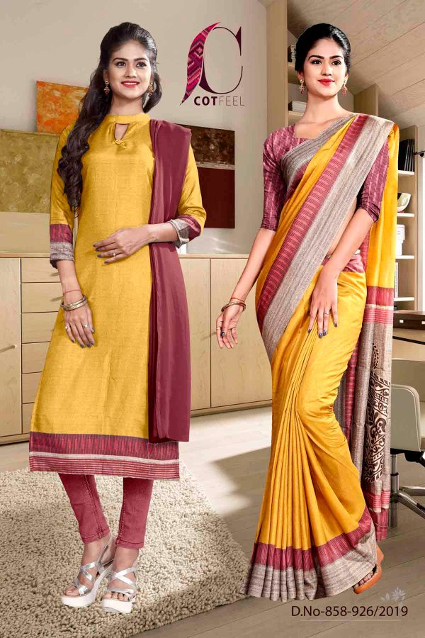 yellow-and-pink-fancy-institute-uniform-saree-salwar-combo-858-926