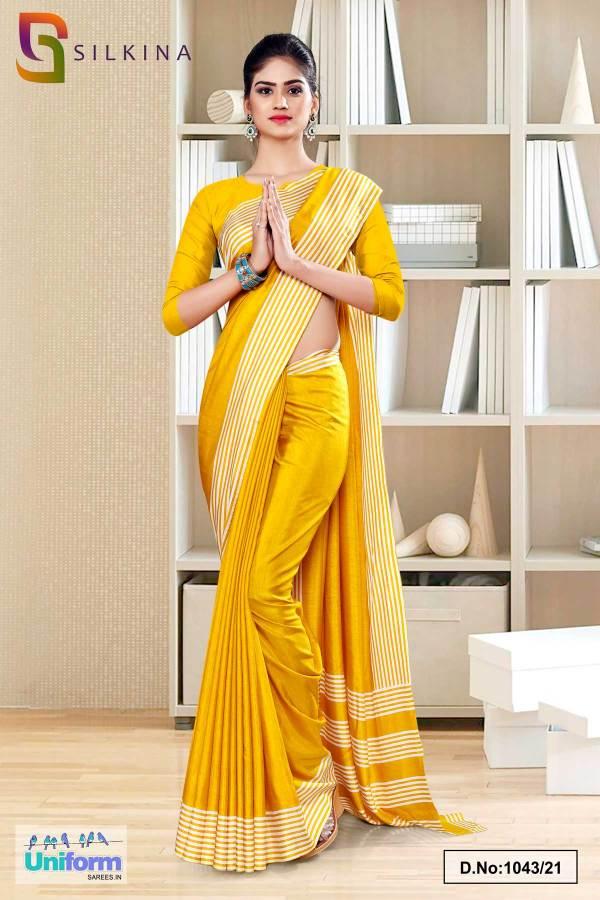 yellow-gold-plain-border-premium-polycotton-raw-silk-saree-for-staff-uniform-sarees-1043