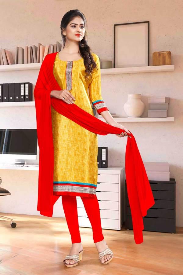 yellow-red-premium-italian-silk-crepe-chudidar-for-receptionist-uniform-sarees-01012