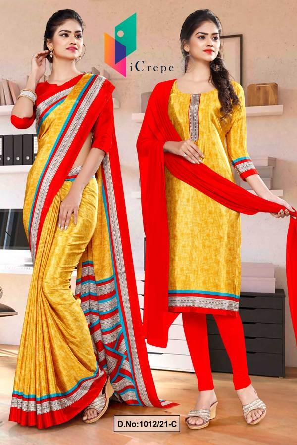 yellow-red-premium-italian-silk-crepe-saree-salwar-combo-for-receptionist-uniform-sarees-1012-C
