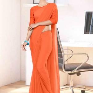 Fawn-Plain-Factory-Uniform-Sarees-1120
