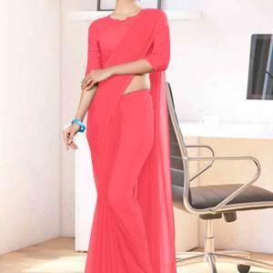 Pink-Plain-Office-Uniform-Sarees-1112