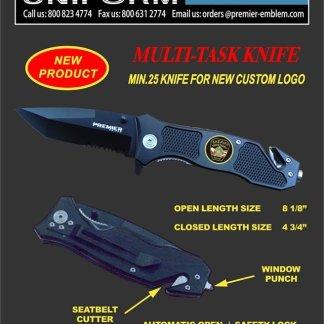 PREMIER EMBLEM - Custom Logo Tactical Knife - PK3332BKLG - LARGE