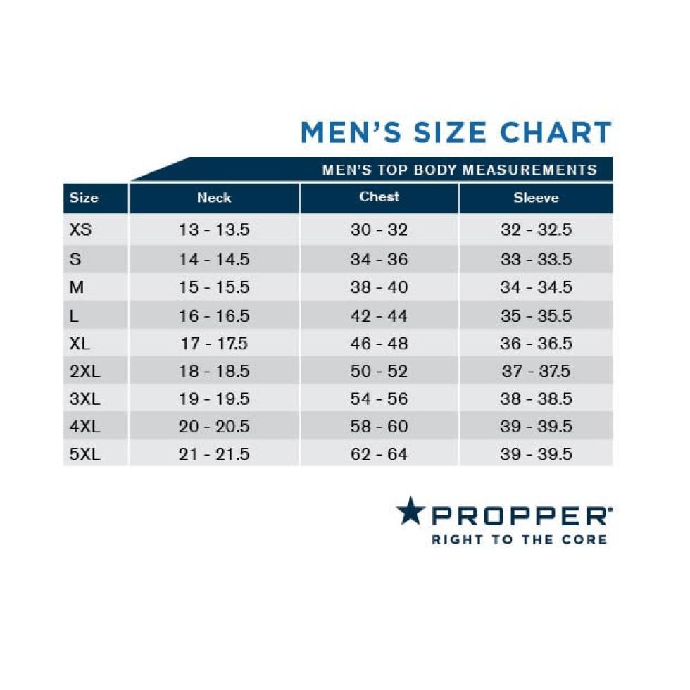 PROPPER Men's Top Body Size Chart