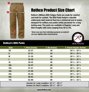 Rothco BDU Pants-Size Chart-21
