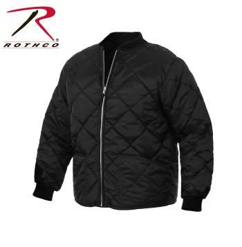 Rothco Diamond Nylon Quilted Flight Jacket - 7230-C - Black