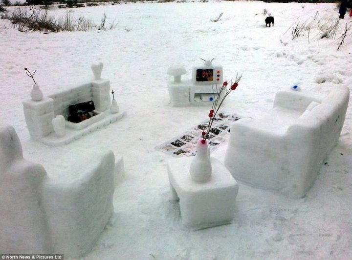 Lounge made out of snow