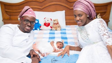 Mike Bamiloyes Son Damilola welcomes a baby girl with his wife Ella