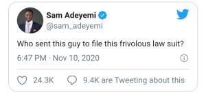 Sam Adeyemi Responds To #EndSARS Suit Against Him & 49 Others