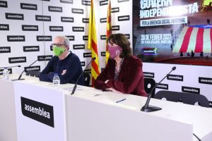 Moment de la roda de premsa a la seu nacional de l'Assemblea Nacional Catalana