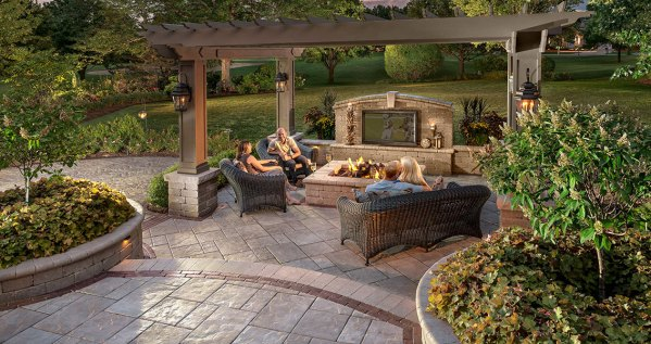 back yard patio design idea Patio Design Ideas: Using Concrete Pavers for Big Backyard Style   Unilock