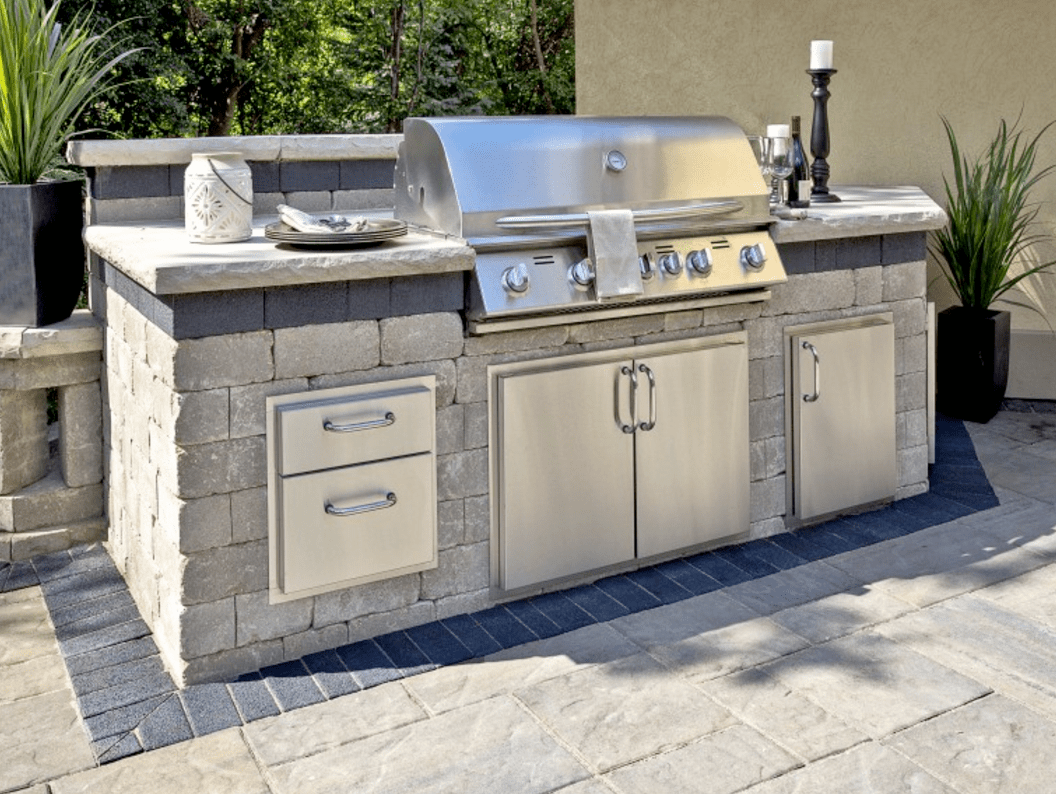 backyard kitchen designs mobile home remodel 3 popular outdoor design layouts sure to please unilock