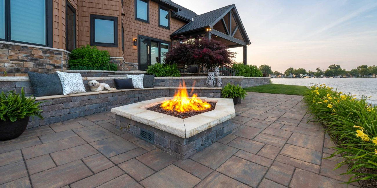 backyard paver patio with central