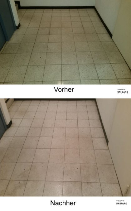 Vielbenutzer Boden vor einem Aufzug, stark eingelagerte Verschmutzungen vor der Reinigung, nach der Reinigung, wesentlich hellerer und klarer Boden