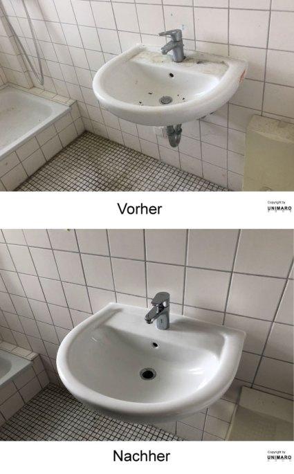 Waschbecken, Badezimmer vor der Reinigung, dreckig, Wacschbecken, nach der Reinigung, sauber