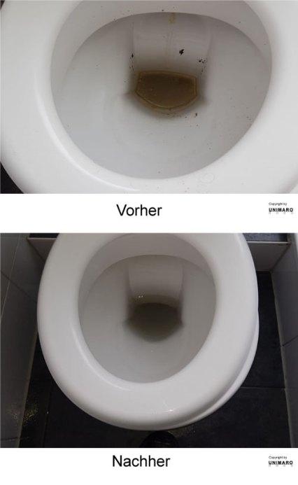 Sehr dreckige Toilette vor der Reinigung und nach der Reinigung, im sauberen und desinfiziertem Zustand