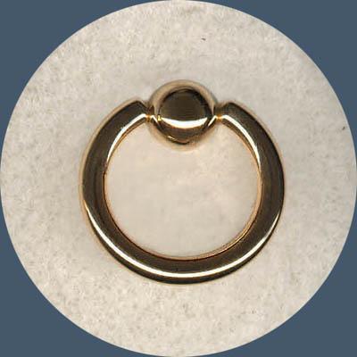 14 Kt Gold GR10 CBR 10 Gauge Solid Gold Ball Captive Bead Ring