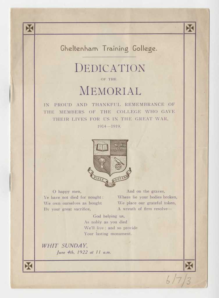 Cheltenham Training College WWI Memorial Dedication programme 1922