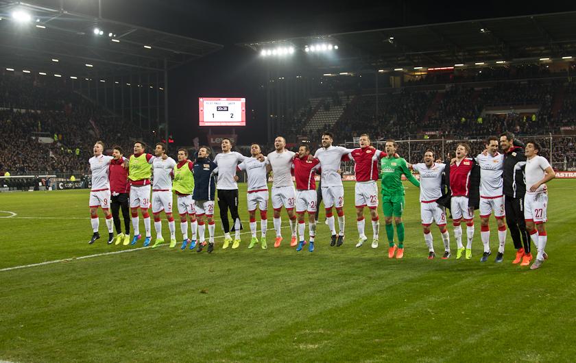 Celebrating the win in Hamburg