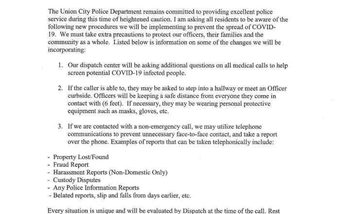 UCPD Precautionary Measures